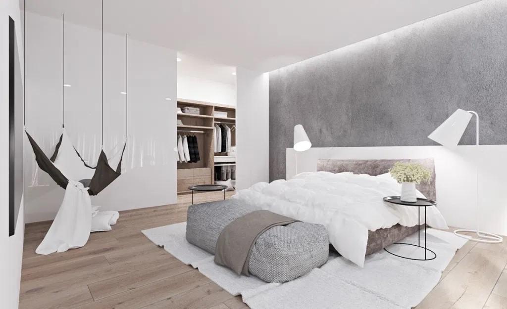 mẫu màu sơn phòng ngủ đẹp màu trắng xám