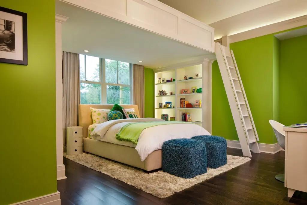Mẫu phòng ngủ gam màu xanh lá