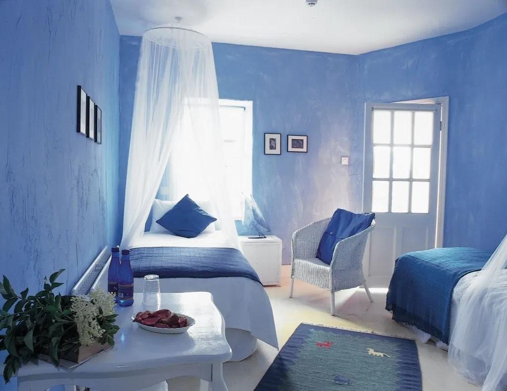 Mẫu phòng ngủ gam màu xanh dương.