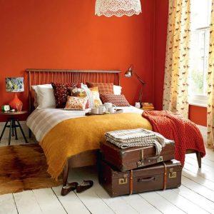 Mẫu phòng ngủ gam màu cam.
