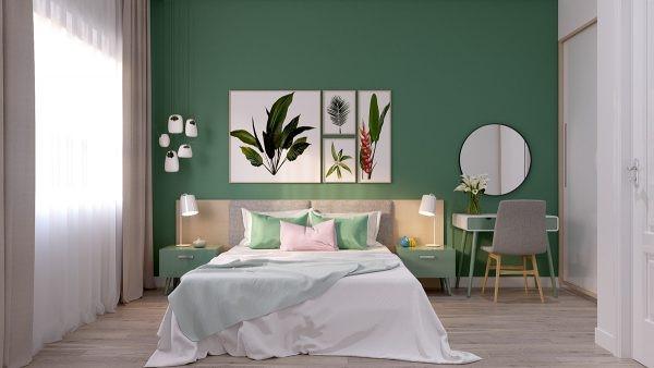 màu sơn phòng ngủ phù hợp với người mệnh mộc