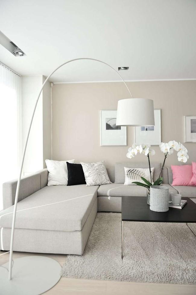 cách phối màu trắng kem với nội thất